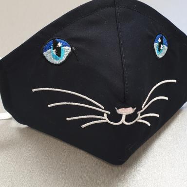 masque enfant brodé yeux de chat