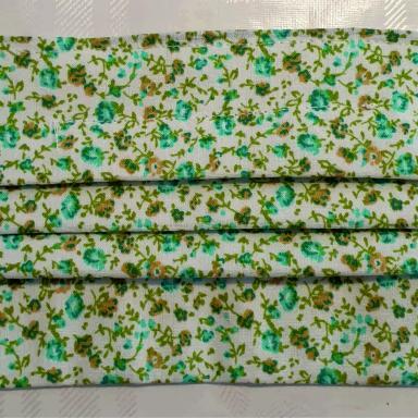 Masque barrière adulte petite fleurs vertes