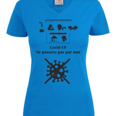 T-shirt bleu de soutien Coovid 19 femme
